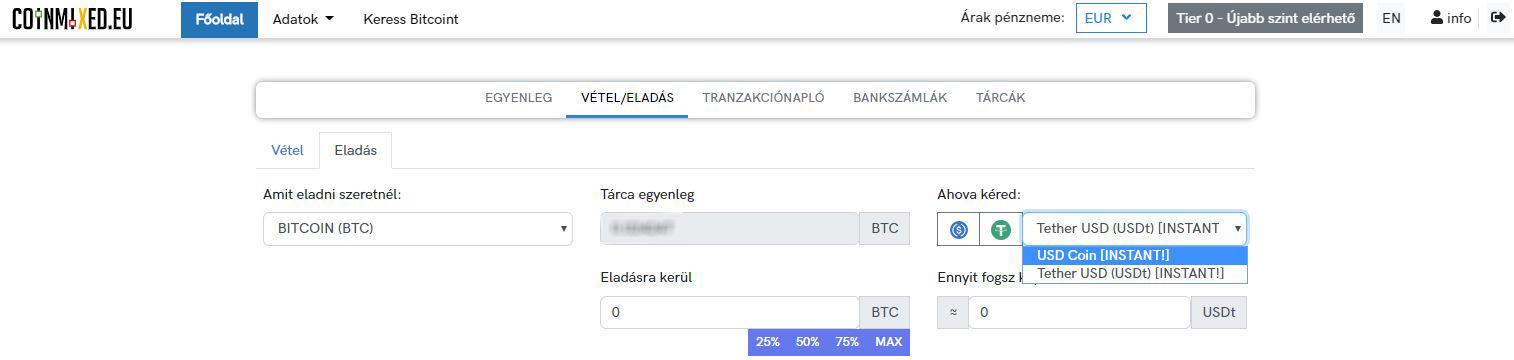 Coinmixed.eu: 0.1%-os jutalék a stabil coin – kripto kereskedési párokon