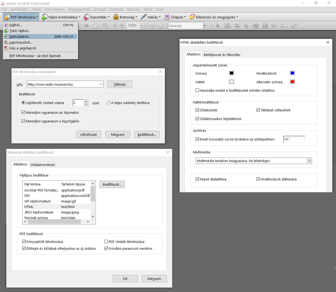 opciók webhely